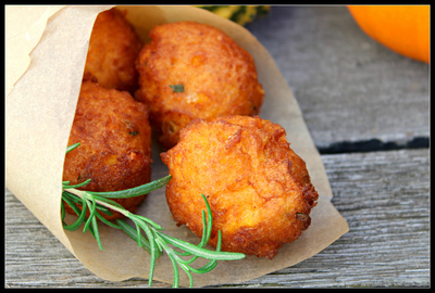 How to cook a vegetable fritter. Pumpkin Fritters With Rosemary And Cheese - Step 4