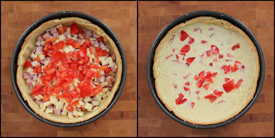 How to bake a quiche. Country Ham, Cheddar, And Tomato Quiche - Step 4