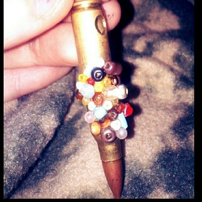 How to make a recycled charm. Beaded Bullet Keychain - Step 2