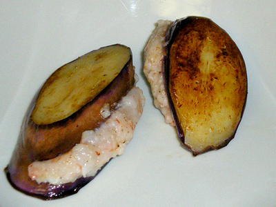 How to cook a shrimp dish / prawn dish. Chinese Shrimp Stuffed Eggplant - Step 4