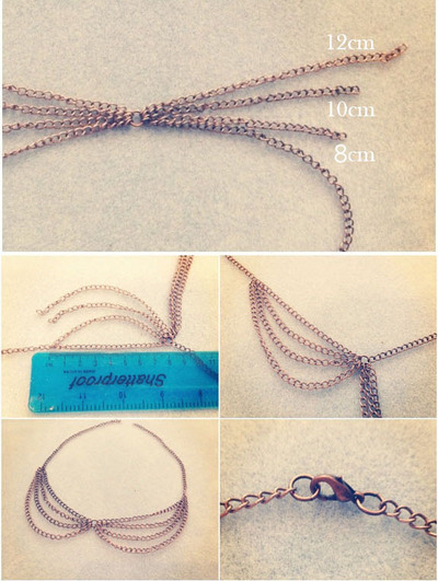 How to make a chain collar necklace. Peter Pan Chain Collar - Step 2
