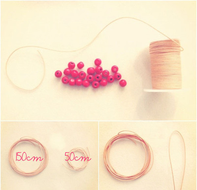 How to make a braided bead necklace. Macrame Bracelet - Step 1