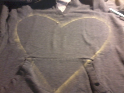How to embellish an embellished sweater. Glitter Heart Sweater - Step 2