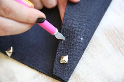 How to make a clutch. Diy Studded Clutch - Step 2