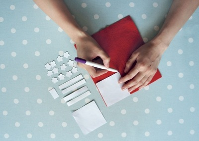 How to make a Christmas decoration. Gift Wrapped Present - Step 2