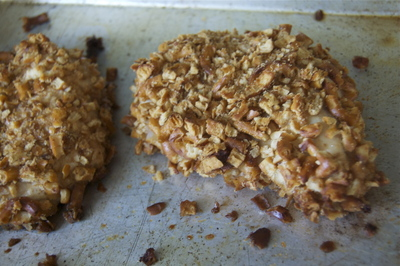 How to cook a chicken dish. Pretzel Crusted Honey Mustard Chicken Breasts - Step 6