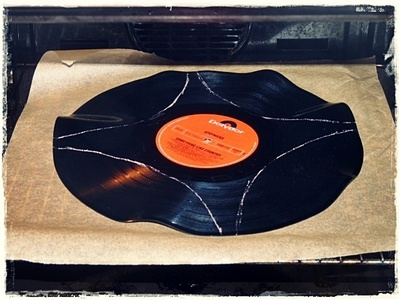 How to make a cuff earring. Torn Paper Vinyl Record Cuff Part I - Step 2