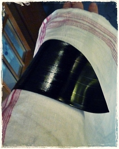 How to make a cuff earring. Torn Paper Vinyl Record Cuff Part I - Step 6