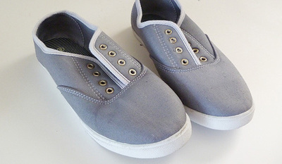 How to make a pair of lace shoes. Repurposed Lace Scrap Tennies - Step 1