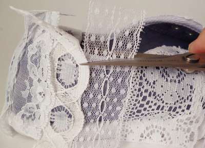 How to make a pair of lace shoes. Repurposed Lace Scrap Tennies - Step 4