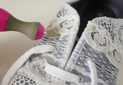 How to make a pair of lace shoes. Repurposed Lace Scrap Tennies - Step 6