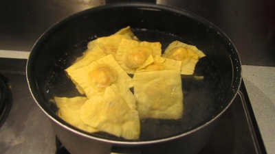 How to cook ravioli. Sweet Potato & Goats Cheese Ravioli - Step 13
