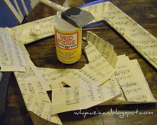 How to make a frame / photo holder. Vintage Sheet Music Wooden Frame - Step 5