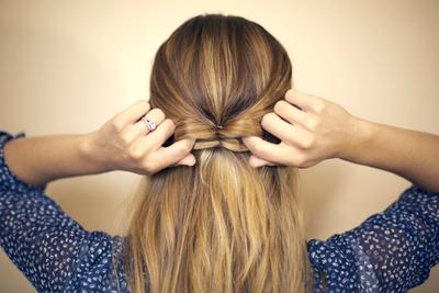 How to style a bow bun. Hair Bow - Step 3