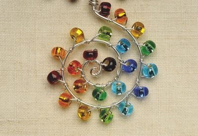 How to make a wire necklace. Rainbow Necklace - Step 6