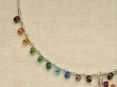How to make a wire necklace. Rainbow Necklace - Step 9