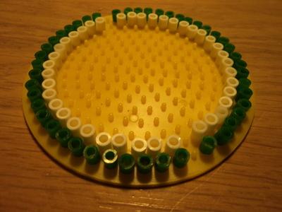 How to make a pair of pegboard bead earrings. Watermelon Earrings - Step 1