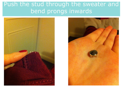 How to embellish an embellished sweater. Diy Studded Sweater - Step 2