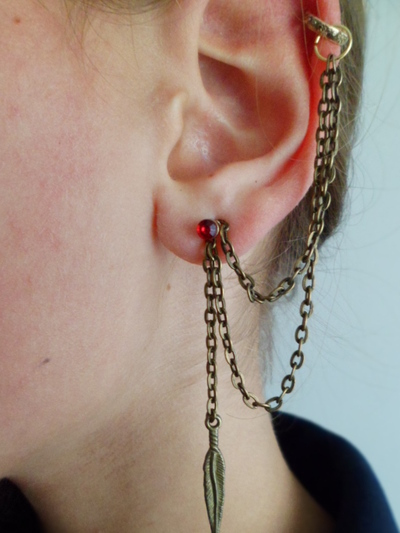 How to make a chain earring. D.I.Y Cuff Earring - Step 5