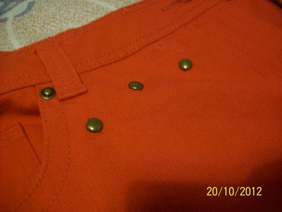 How to make shorts. Red Short With Studs - Step 2