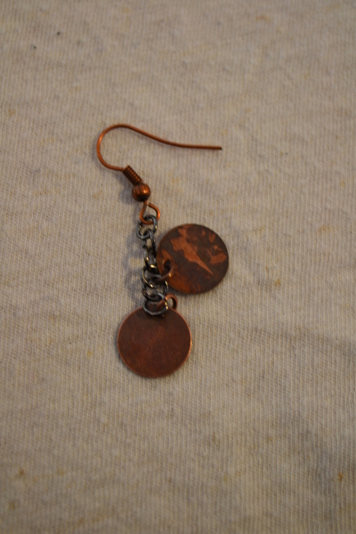 How to make a set of metal earrings. The Age Of Brass Earrings. - Step 4