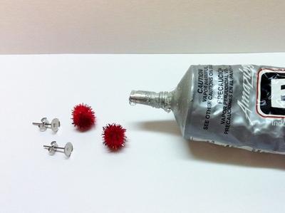 How to make a pair of fabric earrings. Christmas Pom Pom Earrings - Step 1