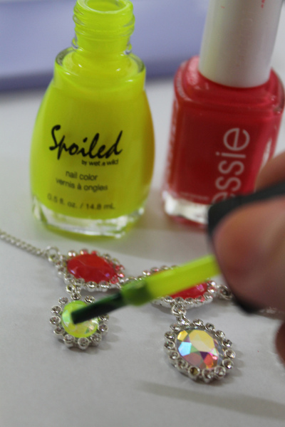 How to recycle a necklace with nail polish. Neon Nail Polish Necklace - Step 1