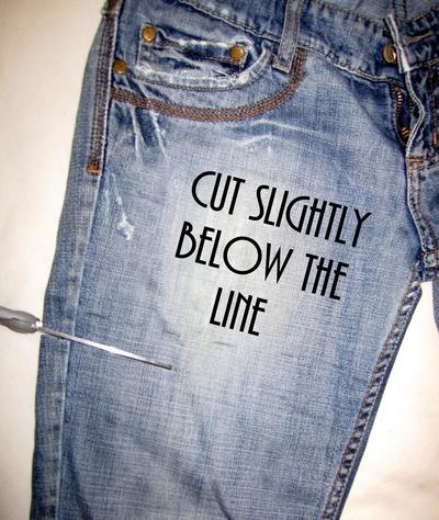 How to make shorts. Update Your Jeans: Diy Studded & Frayed Shorts - Step 5