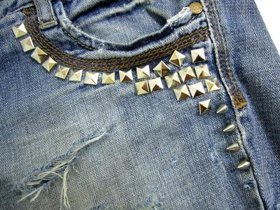 How to make shorts. Update Your Jeans: Diy Studded & Frayed Shorts - Step 10