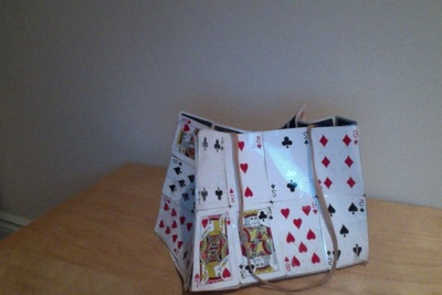 How to make a recycled bag. Playing Card Purse - Step 1
