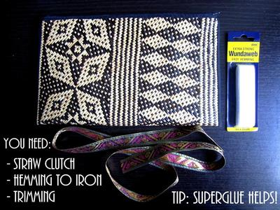 How to make a recycled clutch. Diy Update A Bland Ikat Print Straw Clutch - Step 1