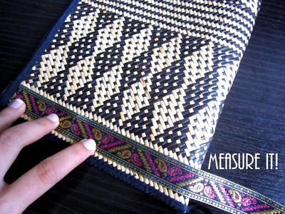 How to make a recycled clutch. Diy Update A Bland Ikat Print Straw Clutch - Step 2