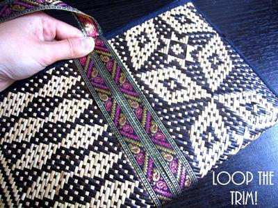 How to make a recycled clutch. Diy Update A Bland Ikat Print Straw Clutch - Step 3