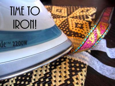 How to make a recycled clutch. Diy Update A Bland Ikat Print Straw Clutch - Step 5