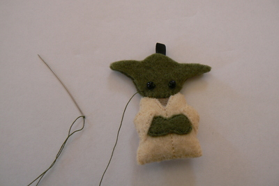 How to sew a fabric character charm. Tiny Yoda Keyring - Step 11