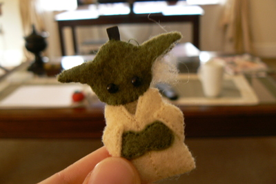 How to sew a fabric character charm. Tiny Yoda Keyring - Step 12