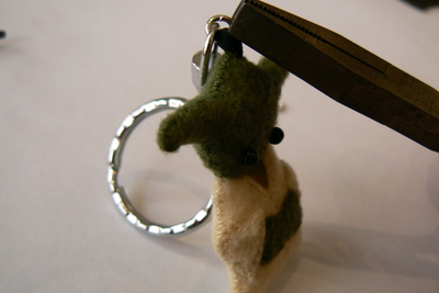 How to sew a fabric character charm. Tiny Yoda Keyring - Step 13