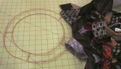 How to make a fabric wreath. Neck Tie Wreath - Step 1