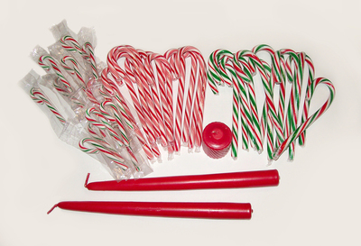 How to make a candlestick. Christmas Craft: Candy Cane Candlestick Holders - Step 1