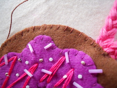 How to make a Christmas decoration. Hanging Xmas Donut - Step 13