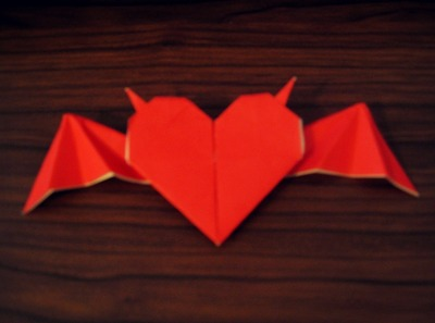 How to fold an origami shape. Origami Heart With Horns And Bat Wings - Step 1