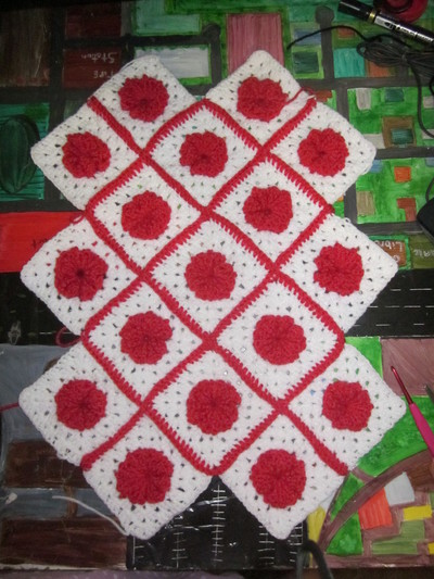 How to make a knit or crochet tote. Granny Square Handbag ( Sewing Your Granny Sqares Together) - Step 17