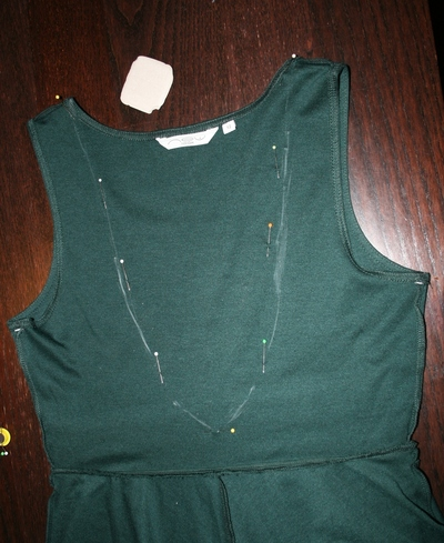 How to embellish a dress with chains. Low Back Dress With Chains - Step 2