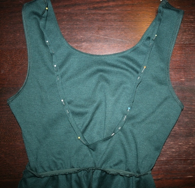 How to embellish a dress with chains. Low Back Dress With Chains - Step 3