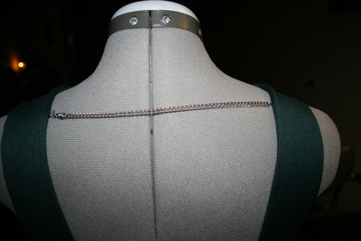 How to embellish a dress with chains. Low Back Dress With Chains - Step 5