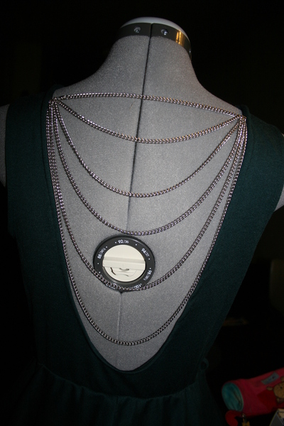 How to embellish a dress with chains. Low Back Dress With Chains - Step 6