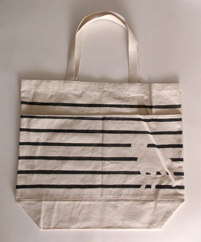 How to paint a painted tote. Diy Painted Reusable Bag With Stripes And Animal Silhouette - Step 7