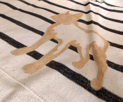 How to paint a painted tote. Diy Painted Reusable Bag With Stripes And Animal Silhouette - Step 10