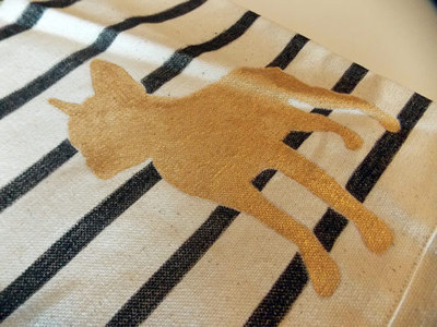 How to paint a painted tote. Diy Painted Reusable Bag With Stripes And Animal Silhouette - Step 11