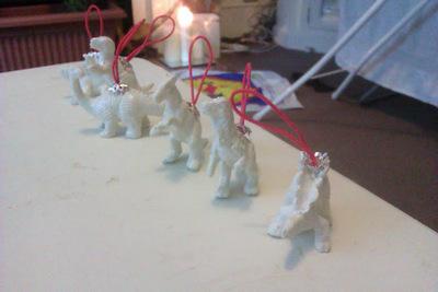How to make a Christmas decoration. Dinosaur Christmas Tree Decorations - Step 7